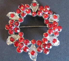 Broche rood strass