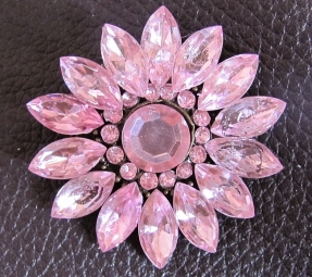 Broche roze strass